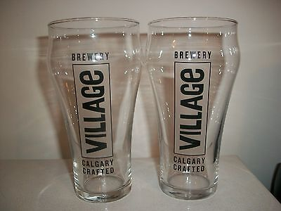 2- Village Brewery-Calgary Crafted- Brand New Beer Glasses