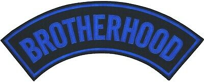 "Brotherhood Motorcycle Biker Club Vest Military Trucker 11"" Rocker Patch Bl-36"