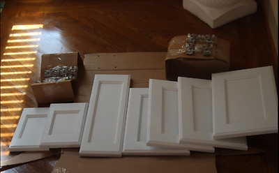 Bathroom Cabinet Doors & Frame Face Finished White Wood & Hinges New