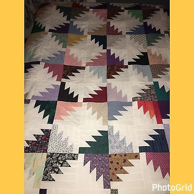 Vintage Bear Paw Cotton Patchwork Quilt Top Vibrant Rainbow Colors-Queen-Mint!