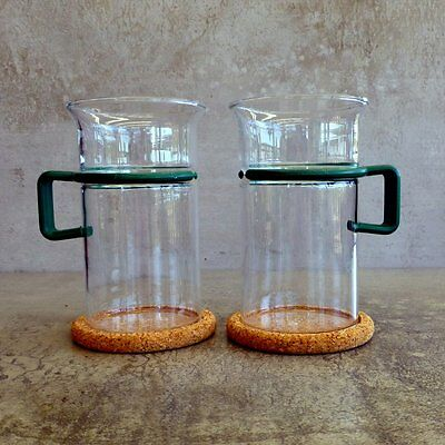 2 x Vintage Bodum Bistro Coffee Glass 300mls original cork coasters Green Retro