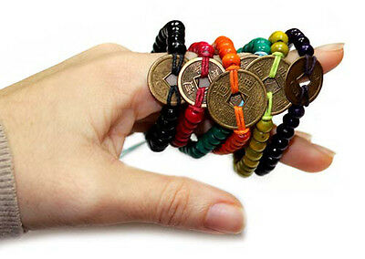 Bali Good Luck Feng Shui Bead Bracelet With Chinese Luck Coin