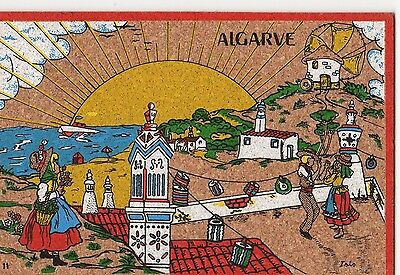 AN ARTIST SIGNED CORK POSTCARD FROM THE ALGARVE - POSTED IN 1993 (t51)