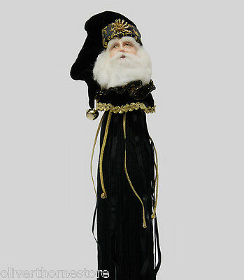 Katherine's Collection Christmas Santa BLACK &  GOLD WINE TASSEL Topper Figurine