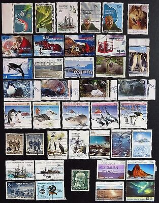 40 Different Australian Antarctic Territory Unhinged Stamps  3 Mint & 37 Used