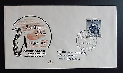 1961 Australian Antarctic Territory Stamp First Day Cover Perth Postmark