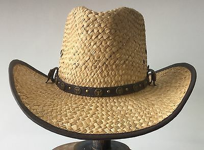 Cowboy Western One Size Straw Hat With Flex Fit Sweatband