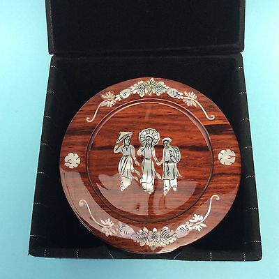 MOTHER OF PEARL INLAID TEAK WOOD LACQUER-WARE VIETNAM x6 Handcrafted with Box