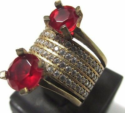 Sterling 925 Silver Turkish Handmade Jewelry / Ruby Stones Lady's Ring Size 7.5