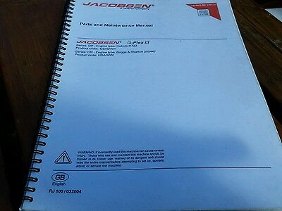 Jacobsen G Plex III parts and maintenance manual. manual.