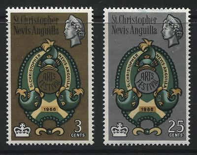 St Kitts-Nevis Anguilla: 1966 Arts Festival set of 2 stamps SG159-160 MNH QQ098
