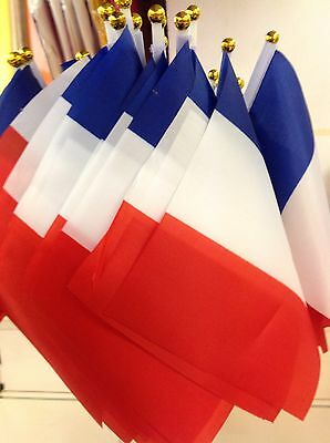 2 X France French SMALL HAND WAVING FLAGS Twin Town Displays French Products New