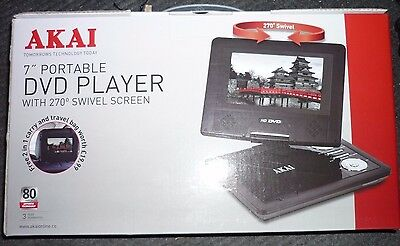 Akai 7 Inch Portable Camping Travel Design DVD Player With Mains & Car Charger