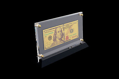 $100 DOLLAR USA GOLD PLATED BANK NOTE+case display +gift box
