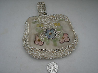 Vintage Purse/bag Beaded Cream Gold Beads Embroidered Flowers