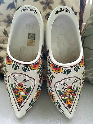Dutch wooden clogs, white - beautifully decorated made in Holland size 38/39