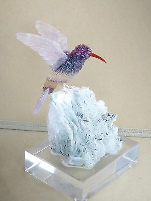 "Large Fluorite Hummingbird on Crystalline Albite with Tourmaline 7"" Peter Muller"