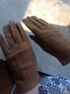 Ladies Vintage Leather Gloves Suede /leather Tan Small Vgc