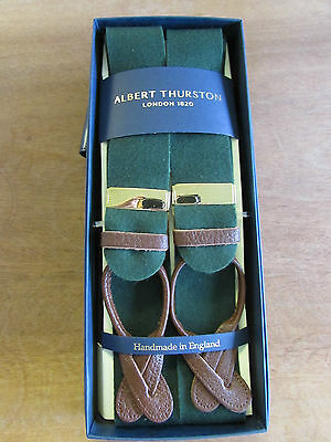 Albert Thurston Boxcloth Green Braces, Brown Leather Ends & Gold Colour Fittings