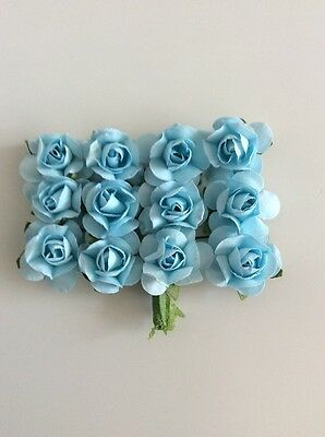 12 X 23mm Mulberry Paper tea rose flowers Blue Flowers On Green Wire Stem