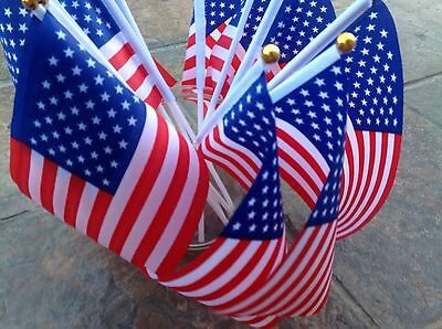 5 AMERICA FLAGS USA / AMERICAN SMALL HAND WAVING FLAG Display sports Party