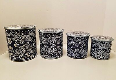 Vintage Delft Flow Blue White Tin Canister Set- Made In Holland