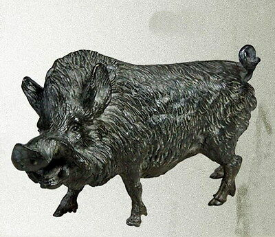 21cm Lucky Chinese antique bronze wild boar(black) statues.#dyb09