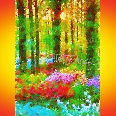 Nik Tod Recreated From Original Painting Large Signed Art Forest Tree Style Mone