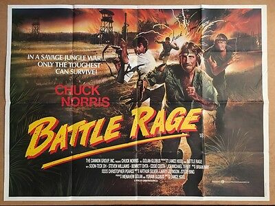 Battle Rage - UK QUAD Cinema POSTER - Hand Signed By Chuck Norris