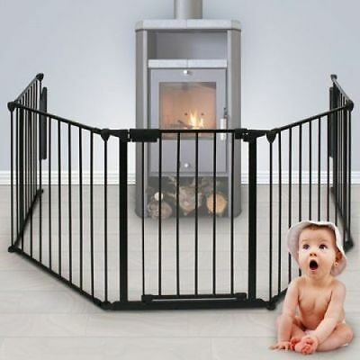 Extendable Child Kid Inc Variably Applicable Fire Guard W/ Wall Fixings - Black