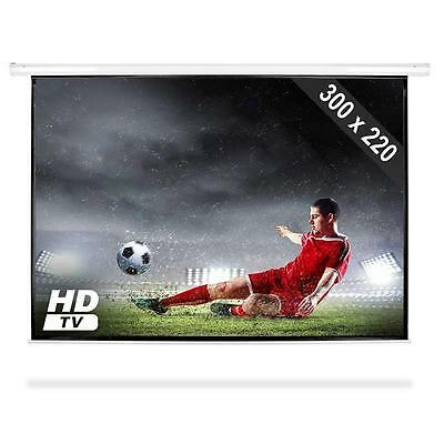 "150"" Hdtv Home Cinema Electric Motorised Projection Screen 4:3 Dlp Lcd Projector"