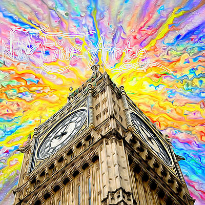 Nik Tod Recreated From Original Painting Large Sign Art London Big Ben Colorful