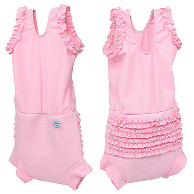 Splash About Happy Nappy Pink Frilly Bum Swimming Costume