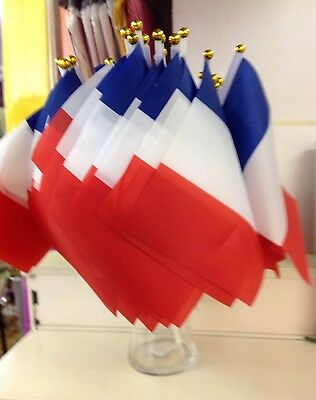 Pk 12 FRANCE SMALL HAND WAVING FLAG RUGBY TWIN TOWN PARTY SPORTS FRENCH PRODUCTS