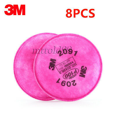 8Pcs=4 Packs 3M 2091 Particulate Filter P100 For 6000, 7000 Series Respirator
