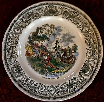 Vintage Masons Plate. Mason's Angling Series. 'Digging For Bait'.
