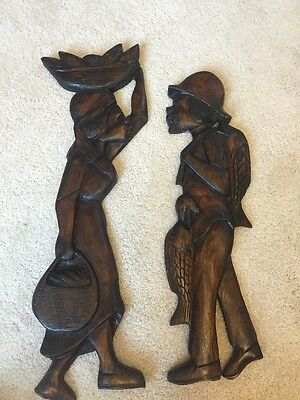 Vintage Carved  Wood Tribal African Woman & Man Wall Art
