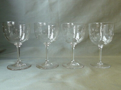 4 antique Victorian star-etched crystal wine glasses