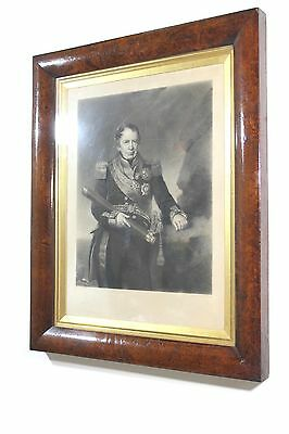 Mid 19th c engraving of Admiral Josias Rowley in maple frame antique naval navy