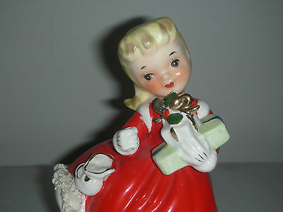 Vintage Napco Christmas Shopper Girl Figurine with Gifts 1956 AX1697A Japan