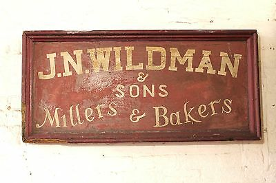 1930s English wooden bakery shop sign in original paint