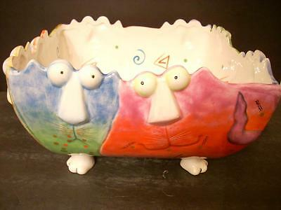 """joy Cats"" Studio Designworks Large Footed Serving Bowl 10X10"" 6"" Tall (5D)"
