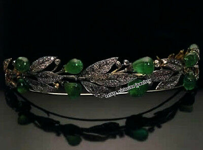 Vintage Estate 9.79ct Rose Cut Diamond Emerald .925 Silver Jewelry Wedding Tiara