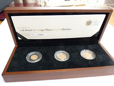 2010 Gold Proof Sovereign 3 Coin Set Boxed & C.O.A