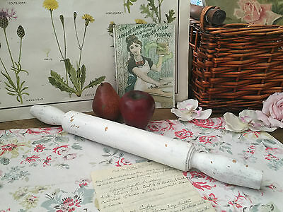 Old Wooden Rolling Pin Chippy Painted Distressed Farmhouse Vintage Kitchenalia