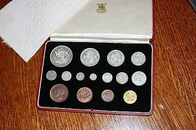 1937 King George Vi Royal Mint 15 Coin Specimen/proof Set Maundy Money To Crown