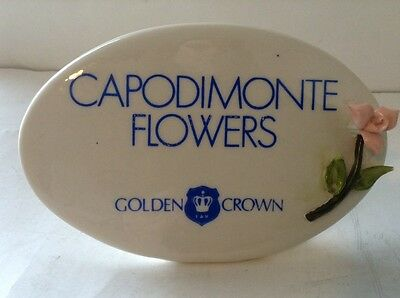 Capodimonte Golden Crown Porcelain Counter Dealer Store Advertising Display Sign