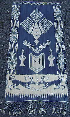 Attractive Antique Early 20Thc Sumba Ikat Indonesian Panel Wrap Throw Wall Hang