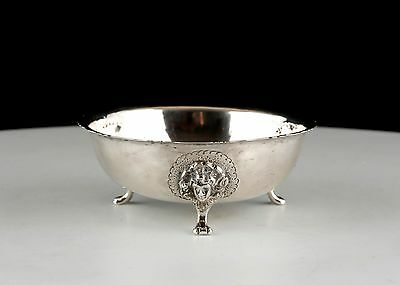 Victorian silver three footed Irish style bowl, London 1878 cast face decoration