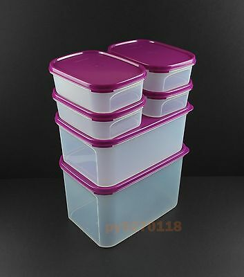 NEW Tupperware Modular Mates Rectangle Set of 6 (Purple) + Free Express & Scoops